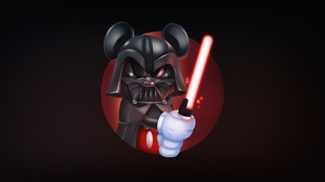 Mickey Mouse Darth Vader Star Wars Star Wars Villains Simple Background Mouse Ears Lightsaber Sith 2500x1280 Wallpaper