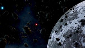 Blender Planet Dwarf Planet Binary Starsystem Asteroid Stars Space Space Clouds Digital Art 3D Graph 2371x1080 Wallpaper