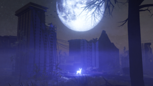 Night Blue Deer Moon Apocalyptic Post Apocalypse City Mist 3820x2160 Wallpaper