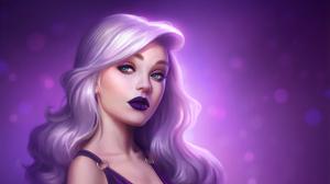 Blue Eyes Face Girl Lipstick Pink Hair Woman 1920x1080 Wallpaper