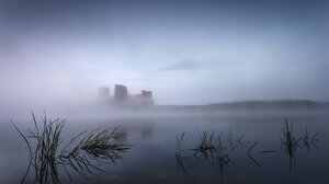 Architecture Castle Water Mist Ruin Morning Lake Grass 2047x1308 Wallpaper