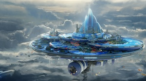 Aircraft City Cloud Floating Island Futuristic 4000x2095 Wallpaper