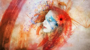 Colorful Face Girl Watercolor Woman 2835x1846 wallpaper