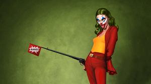 Digital Art Artwork Joker Red Clothing Tongue Out Revolver Green Hair Yellow Tops Comic Art Comics 1920x1080 Wallpaper