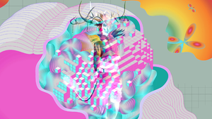 Abstract CMYK Pastel Voxels Minimalism Deer Music 1920x1080 Wallpaper