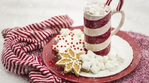 Candy Cane Christmas Cookie Gingerbread Hot Chocolate 1920x1257 Wallpaper