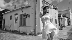 Asian Women Model Hat Women With Hats Urban Women Outdoors Standing Dress Looking Away Building Hous 2048x1152 Wallpaper