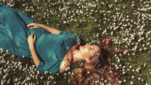 Blue Dress Brunette Girl Lying Down Model Mood White Flower Woman 2048x1365 wallpaper