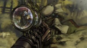Anime Sniper Rifle Anime Boys Short Hair Green Eyes Steampunk 1440x900 Wallpaper