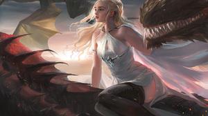 Game Of Thrones Daenerys Targaryen Tv Series Fantasy Art Digital Art Artwork Sakimichan Women Blonde 1600x1095 Wallpaper