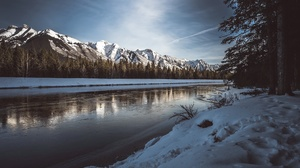 Mountain Nature River Snow Winter 2048x1368 Wallpaper