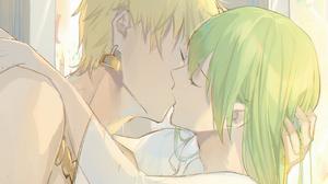 Fate Series FGO Fate Grand Order Yaoi Hugging Couple Anime Boys Kissing Femboy Bare Shoulders 2D Ani 1400x1500 Wallpaper