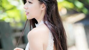 Model Women Brunette Asian White Dress Looking Away Long Hair Holding Hair Depth Of Field Portrait D 2560x3840 Wallpaper
