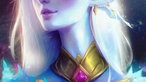 Nixri Women White Hair Blue Eyes Elf Ears Crown Artwork Fan Art Digital Art Elves 1000x1417 wallpaper
