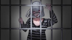 Anime Anime Girls Jail Black Nails Red Eyes Short Hair Looking At Viewer Silver Hair Prisoners Kuron 4000x2250 Wallpaper