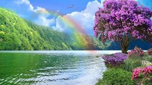 Earth Flower Lake Manipulation Rainbow Spring Tree 1920x1080 Wallpaper