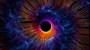 Digital Art Abstract Black Holes Circle Blue Orange Wavy Lines Space 1920x1080 Wallpaper