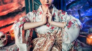 Asian Women Model Sitting Looking At Viewer Flower Crown Dark Hair Red Eyes Makeup Legs Red Lipstick 1365x2047 Wallpaper