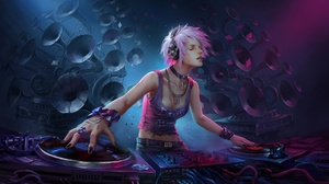 Dj Girl Headphones Pink Hair Short Hair Speakers Woman 1920x1169 wallpaper