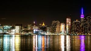 Building City New York Night Reflection Skyscraper Usa 4000x2670 Wallpaper