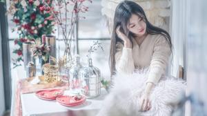 Asian Women Model Brunette Looking Away Table Long Hair Sweater Sitting Women Indoors Indoors 4032x2689 wallpaper