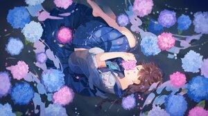 Omutatsu Anime Anime Girls Flowers Legs Barefoot 4002x2250 Wallpaper
