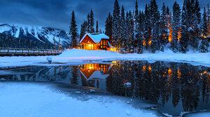 Winter Cabin Night House Lake Water Trees Snow Landscape 6144x4090 Wallpaper