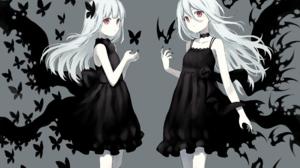 Butterfly Dress Girl Long Hair Red Eyes White Hair 2050x1460 Wallpaper