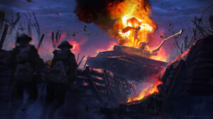 Digital Art Fire War Tank Soldier Evil Trenches 1920x1080 Wallpaper