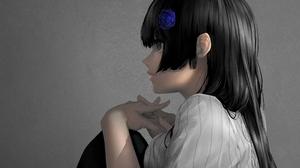 Black Eyes Black Hair Girl 2500x1875 wallpaper
