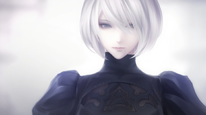 Nier Automata Video Games Anime Games Anime Women Video Game Girls Hair In Face Simple Background Wh 1600x1276 Wallpaper