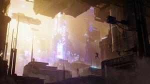 Rutger Van De Steeg Digital Art Futuristic Futuristic City Cyberpunk City Concept Art 3840x1795 Wallpaper