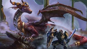 Dragon Knight Shield Sword Warrior 1920x1305 wallpaper