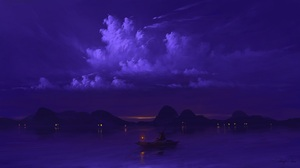 Digital Art Night Sky Water Boat Lantern BisBiswas 1920x1080 Wallpaper