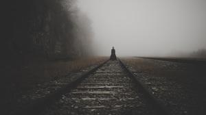 Women Horror Mist Railway Sad Forest Black Clothing Spooky Creepy Witch Halloween Nightmare 5184x3456 Wallpaper