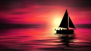Artistic Purple Sailboat Sun Sunset 8400x3807 Wallpaper