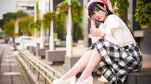 Asian Brown Eyes Brunette Depth Of Field Girl Hat Model Woman 2048x1367 Wallpaper
