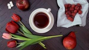 Apple Berry Fruit Pear Raspberry Still Life Tea Tulip 5808x3856 Wallpaper