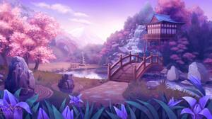 Pink Asian Architecture Cherry Blossom Garden Digital Art Smite 1920x960 wallpaper