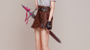 Cifangyi Drawing Brunette Baseball Caps T Shirt Skirt Shoes Weapon Anime Girls Sword Simple Backgrou 3840x5429 Wallpaper