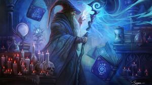 Book Candle Magic Man Skull Wizard 1920x1175 wallpaper