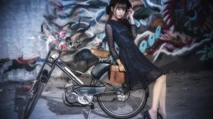 Asian Model Women Long Hair Brunette Bicycle Black Dress Black Heels Graffiti Wall Hat 3840x2560 Wallpaper