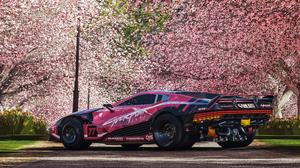 Forza Forza Horizon 4 Vehicle Car Quadra Quadra Turbo R V Tech Cyberpunk Cyberpunk 2077 Trees Cherry 3840x2160 Wallpaper