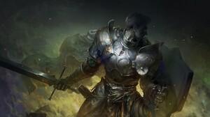 Armor Shield Sword Warrior 3000x1758 wallpaper