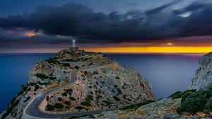 Horizon Lighthouse Ocean Road Spain 4320x2570 Wallpaper