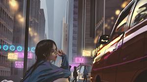 Vertical Anime Anime Girls WLOP Car City Street 1055x1857 Wallpaper
