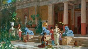 Artwork Painting Women Rome Ancient Rome Garden Statue Palace 4256x3042 Wallpaper