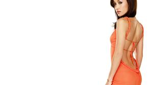 Actress Brown Eyes Brunette Maggie Q Orange Dress 1920x1440 Wallpaper