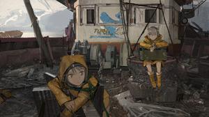 Anime Girls Original Characters Anime Looking Away Raincoat Ship Abandoned Artwork Drawing Digital A 5333x3000 Wallpaper