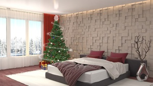 Bedroom Christmas Tree Decoration Furniture 2560x1680 Wallpaper
